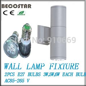 6w o 10w 2014 ip54 vendita calda in alluminio su e giù round applique a led per esterni con 2 pezzi spot 3w/5w ognuno