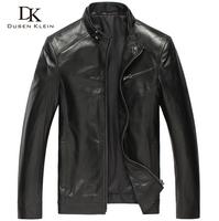 Brand spring leather coat man genuine sheepskin luxury business slim designer Black jacket 14B0108A free shipping