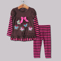 New 2014 Kids Clothing Suit for Girls 2 PCS Striped Clothes T Shirt With Cotton Pants Wholesale Baby Clothes