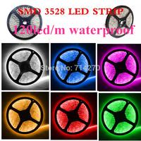 waterproof  7 color light 120led/m 5M 12V DC LED strip SMD 3528 Flexible Light Strip bright festival LED lighting