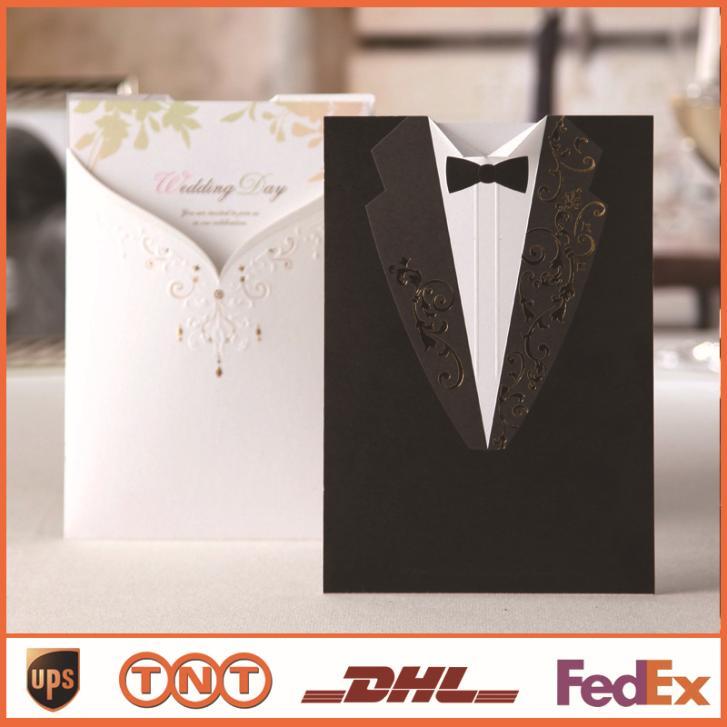 Laser Cut Convites de casamento criativa elegante noivo e noiva Vintage Black White cartão de convite de casamento elegante formal HQ0054(China (Mainland))