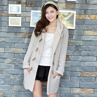 Sweater female cardigan College Wind solid color female models plus thick velvet needle twist long women cardigan 2014 New
