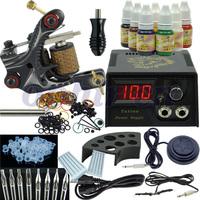 OPHIR Free Shipping New Beginner Rotary Tattoo Machine Kit 7 Ink Set Equipment Power Supply One Machine#TA002
