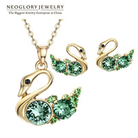 Neoglory MADE WITH SWAROVSKI ELEMENTS Rhinestone Swan Jewelry Sets Love Necklace & Earrings for Women 2014 Brazil New Arrival