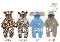 Free shipping  New baby romper lovely Animal design romper Leopard zebra elephant romper Fleece autumn warm 00078