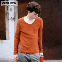 pullover sweater  viishow  brand new fall  v-neck  tide male solid color long-sleeved  coat winter orange  cardigan xxl xl wool