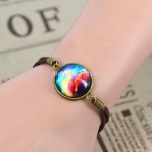 2014 Men Women Bracelet Jewelry Fashion Galaxy Bracelet Lovely Space Pendant Suede Leather Bracelet Bangles Gift
