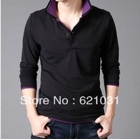Free Shipping 2013 Autumn Men's  Brand Long Sleeve T-Shirts  Fashion Slim FitT urn-Down Collar Element Casual Men Shirt Size XXL