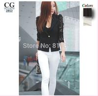 2014 New Women Stylish Lace Hollow Out Small Jackets Suit Outerwear Coat Slim Blazers Chiffon Blouses Shirts Plus Size#CGJA006