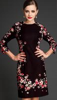 S-XXL H&Q 2014 new runway autumn&winter fashion Italy style brand vintage flower print plus size one-piece dress S,M,L,XL,XXL