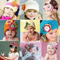 Autumn Winter Children Handmade Manual Hat Crochet Hats Girls Flower Knitted Hats Beanies Caps Infant Baby Photograph Props