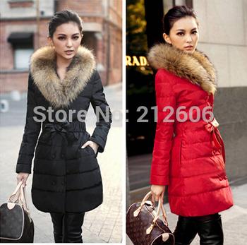 Lanluu Best Price for 2014 Winter Down Cotton Coat Big Fur Women Long Parkas Outerwear SQ809