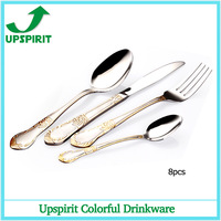 8 pcs Gold plated mirror polished stainless steel tableware wedding cutlery flatware set spoon tea fork knife dinning set