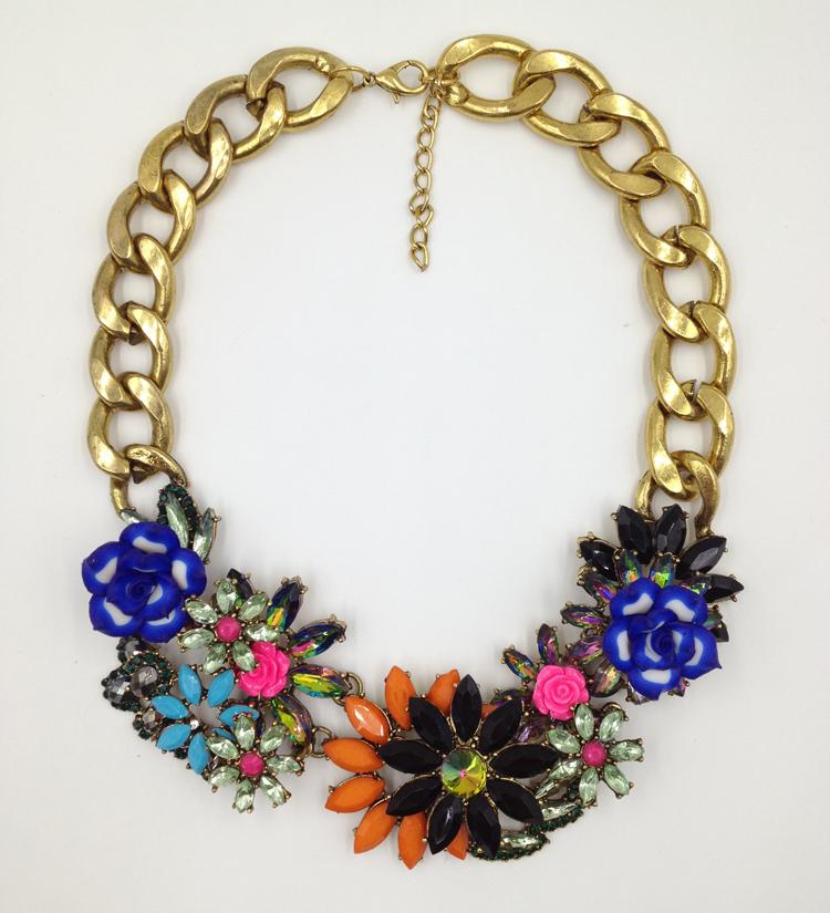 2015 Z Fashion Necklace Soft ceramic multicolor flower pendant Necklaces bijoux Jewelry Wholesale M2209