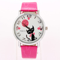Best Selling Product 2014 Free Shipping Top Brand Watches New Watch Female Students Cat Footprints PU 12 Numbers Watch
