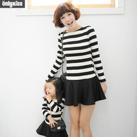 2014 children costume brand baby kids fashion clothes cotton striped long sleeve shirt dresses printed Family ,for mom / girls