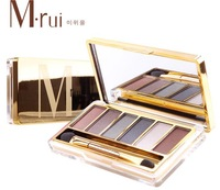 Free shipping korea 6 color eyeshadow palette luminous makeup eye shadow powder long-lasting make up kit /brush +mirror