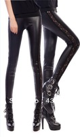 Hot Sales Imitation Leather Leggings with Lace edge For Women Free Shipping