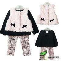 wholesale 2013 Baby/Children's Winter Clothes Sets Cotton Tshirt+Fur Vest+ Leggings 3pcs Set Fashion Clothes Suit Free Shipping