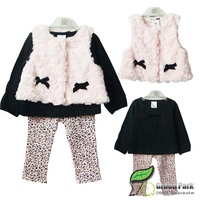 wholesale 2013 Baby/Children's Winter Clothes Sets Cotton Tshirt+Fur Vest+ Leggings 3pcs Set Fashion Clothes Suit Free Shipping