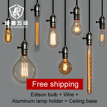 Hot selling!!  vintage Antique wholeset with E27 110v 220V Edison bulb+lamp holder+wire+ceiling base bar shop pendant lighting