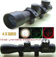 4x32eg one Set Metal Red green light Sights 4x32 EG Telescope TARGET with 2 Scope Rings for outdoor sports hunting