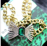 necklaces & pendants key created gemstone men jewelry sets necklace women necklaces 2013 women vintage green gem medium-long bow