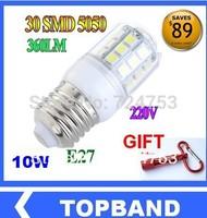 Clearance E14 E27 G9 10W 27pcs 5050 SMD LED Light Bulb White / Warm White 220V Corn Light spotlight LED Lamp bulbs Free Shipping