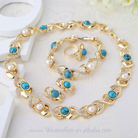 Elegant Blue Beads With Pearl Necklace Female Accessories Costume fashion Pearl jewelry Sets For Party Free shipping A048