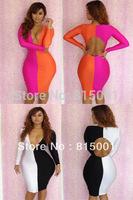 Hot Selling Bodycon Dresses New Fashion 2014 Sexy Deep V Mini Dress Party Evening Elegant Clubwear Bandage Pencil Dress Women
