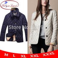 Big Size New 2014 Women's Wadded Spring Fashion Classic Plaid Plus Single Breasted Slim Elegant Thermal Cotton-padded Jacket B01
