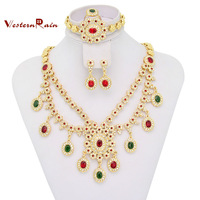 18k Gold Plated Jewelry Dubai Mutil-color Rhinestone Bridal Necklace Set Muslim Fashion Jewelry Set For Women,Free shipping A315