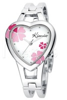 Stylish heart-shaped female bracelet watch with four-leaf clover pattern