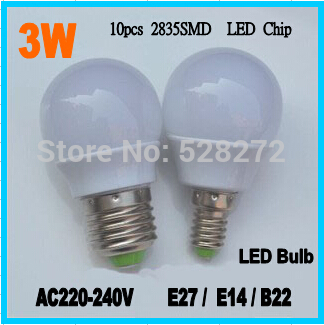10pcs/lot 3W B22 LED Bulb AC 220 230V 240V Table Lamp Bulb E27 / E14 led book light SMD2835 Lamps cold white/warm white(China (Mainland))