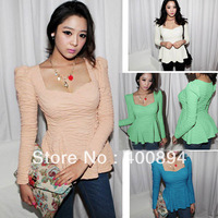 WHOLESALE 2013 the newest Womens Sweetheart Neck Puff  Frill Tunic Fitted Peplum Tops Blouse dress