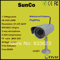 2013 NEW 720P  ONVIF wireless IP waterproof outdoor box camera With IR(50m distance)