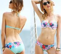2014 Dropshipping Padded Sexy Vintage Swimsuits Underwire Retro Swimwear Push Up Bikini Set Secret Biquini Bathing Suits 1308
