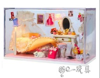 Kawaii DIY Doll Home With Dust Cover Free Shipping dollhouse furniture/christmas gift