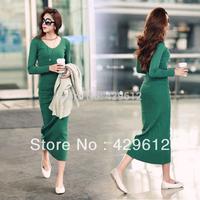 3 colors women's Grinding wool cotton shirt dress,  basic high waist plus size knitted full dress