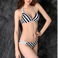 2013 New fashion Sexy Women bikinis set Swimwear white and black striped Swimsuit push up D30