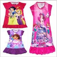 2014 New Free shipping 1 pcs 4 color baby cartoon pajamas for girls/Children nightgown/homewear/kids sleepwears