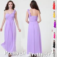 ZJ0209 pink royal blue purple colored long maxi plus size chiffon one shoulder party brides maid 2013 bridesmaid dresses long