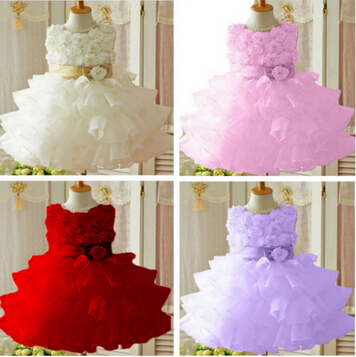 Retail 2013 new sleeveless Waist Chiffon Dress Girls Toddler 3D Flower Tutu Layered Princess Party Bow Kids Formal Dress(China (Mainland))