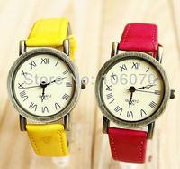 Free shipping Wholesale New Fashion 2014 Luxury Leather Strap Women Watches Quartz Roman Dial Analog Wrist Watches For Gift