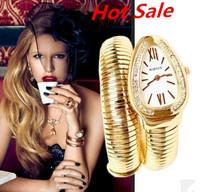 Free shipping Snakelike Bracelet Watch Analog Fashion 2013 Top Quality Luxury Brand New Rose Golden Women Dress Watches On Sale