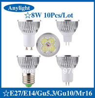 10pcs/lot 8W E27/E14/Gu5.3/Gu10/Mr16 85-265V CREE CE Warm/Pure/Cold/White 720LM High Power LED Lamp/Spot lighting