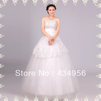 2013 Elegant Sweetheart Lace Applique Bodice Tulle Wedding Dress