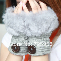 Free shipping women's knitting wool Rabbit hair gloves lady mittens with botton