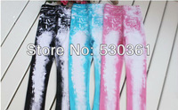 New 2014 children pants, girls' leggings, cotton superelastic leggings, color washed denim legging, cute wild legging for girls