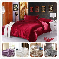 Twin/Full/Queen/King Silk Bedding Comforter/Quilt/Duvet Cover Sets,Wine Red(Gold,Silver) Satin Silk Bedding Sets